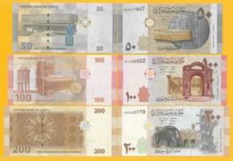 Syria Set 50, 100, 200 Lira 2009 UNC Banknotes - Siria