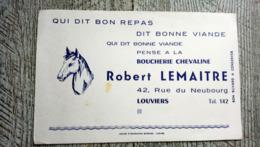 Buvard Publicitaire Boucherie Chevaline Robert Lemaitre Louviers Cheval - Animales
