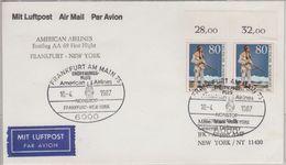 BRD - 2x80 Pfg. Karl May Paar/Oberrand Luftpostbrief N. USA FFM New York 1987 - [7] República Federal