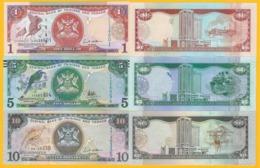 Trinidad & Tobago Set 1, 5, 10 Dollars P-46, 47, 48 2006 UNC Banknotes - Trinidad En Tobago
