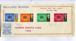 HUMAN RIGHTS YEAR- 1968 FALKLAND ISLANDS FDC FIRST DAY COVER - LILHU - Briefmarken
