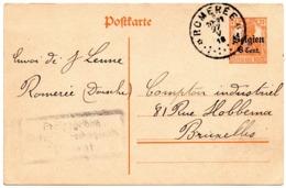 EP Oblitération Dépôt-relais De ROMEREE Vers Bruxelles - Censure De Dinant (1918) - WW I