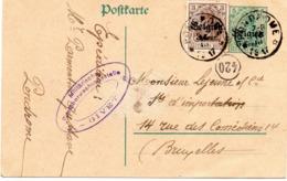 EP Oblitération Dépôt-relais De PONDROME Vers Bruxelles - Censure De Givet (1917) - WW I