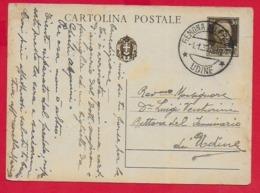 CARTOLINA POSTALE VG ITALIA - Tipo Imperiale - Cent 30 - U. CP 80 - 10 X 15 - 1939 GEMONA DEL FRIULI - 1900-44 Victor Emmanuel III