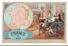 CHROMO CHOCOLAT DE L'UNION LYON  LA FRANCE EN 1697 - Altri