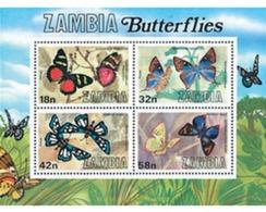 Ref. 76773 * MNH * - ZAMBIA. 1980. BUTTERFLIES . MARIPOSAS - Zambie (1965-...)