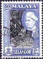 Malaiische Staaten V - Selangor - Eingeborene Mit Blasrohr (MiNr: 86) 1957 - Gest Used Obl - Selangor