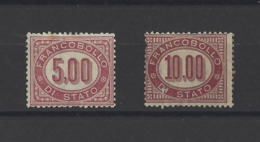 ITALIE.  YT  Timbres De Service  N° 7-8  Neuf Sans Gomme  1875 - Dienstpost