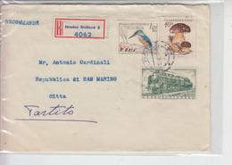 CECOSLOVACCHIA 1960 - Raccoamdata Per  Rep. Di  S.Marino - Funghi - Uccelli - Treni - Lettres & Documents