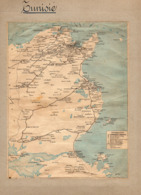 2 Cartes Télégraphique Téléphonique & Des Chemins De Fer Dépt De CONSTANTINE Et La TUNISIE Année 1936 Collée Recto Verso - World