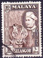 Malaiische Staaten V - Selangor - Tiger (Panthera Tigris) (MiNr: 84a) 1957 - Gest Used Obl - Selangor