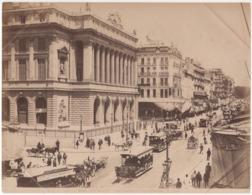° 13 ° MARSEILLE ° LA BOURSE ET LA CANEBIERE ° ATTELAGE - TRAM ° GRANDE PHOTO G.J. 2649 Vers 1890 ° - Canebière, Centro Città