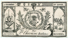 14224  - 2 ANCIENNES  ETIQUETTES  ABSYNTHE - ABSINTHE   CHAVASSE DISTILLATEUR A CHAMBERY  FIN 19 éme - - Etiketten