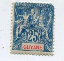 COLONIES FRANCAISES GUYANE 1 Timbre Neuf X  N°YT 46 - 1900 - Guyane Française (1886-1949)