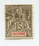 COLONIES FRANCAISES GUYANE 1 Timbre Neuf X Signé  N°YT 45 - 1900 - Neufs