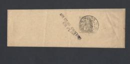 Bande Journal Type Blanc 1c Oblitération Lyon Du 27/8/1912 MP 1/2 Centime En Plus - Marcofilia (sobres)