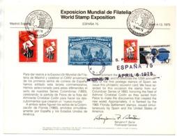 Tarjeta Commemorativa De 1975 Exposicion Mundial De Filatelia. - 1931-Hoy: 2ª República - ... Juan Carlos I