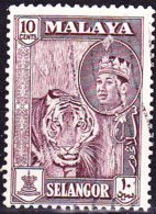 Malaiische Staaten V - Selangor - Tiger (Panthera Tigris) (MiNr: 95) 1961 - Gest Used Obl - Selangor
