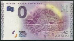 Billet Touristique 0 Euro 2015  Gordes Le Village Des Bories - Essais Privés / Non-officiels