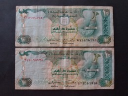 United Arab Emirates  الإمارات العربية المتحدة دبي Emirati Arabi 10 DIRHAMS X 2 MONEY PAPER - United Arab Emirates