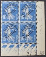 R1615/1317 - 1935 - TYPE SEMEUSE - PREO - BLOC N°52 (279) TIMBRES NEUFS**(3)/*(1) CdF Daté - Coins Datés