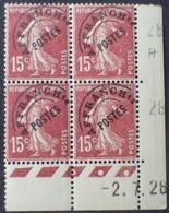 R1615/1319 - 1928 - TYPE SEMEUSE - PREO - BLOC N°53 (189) TIMBRES NEUFS**(2)/*(2) CdF Daté - Coins Datés