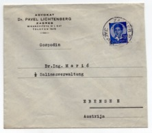 1936 YUGOSLAVIA, CROATIA, ZAGREB TO EBENSEE, AUSTRIA, ADVOKAT DR PAVEL LICHTENBERG, LETTERHEAD COVER - 1931-1941 Kingdom Of Yugoslavia
