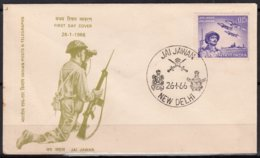INDE   First Day Cover  NEW DELHI  Lle 26 1 1966   MILITARIA - FDC