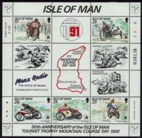 Großbritannien - Isle Of Man 1991 - Tourist-Trophy-Mountain - MiNr Block 15 (468-472)** - Motorbikes