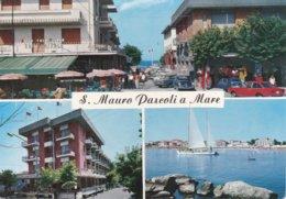 S.MAURO PASCOLI A MARE - FORLI' CESENA -3 VEDUTE - BAR CENTRALE CON INSEGNA PUBBLICITARIA BIRRA ITALA PILSEN - 1971 - Forlì