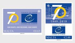 MALTA, 2019, MNH, 70th ANNIVERSARY COUNCIL OF EUROPE, 2v - Vereine & Verbände