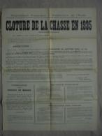 Affiche - Arrêté Clôture De La Chasse En 1935 Préfet De L'Aude Carcassonne - Plakate