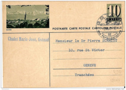 """11-20 - Entier Postal  Avec Illustration """"Bern"""" Superbe Cachet Illustré De Gstaad 1949 - Entiers Postaux"""