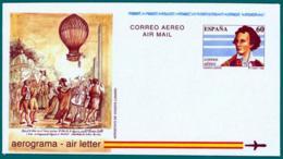 España. Spain. 1992. Aerograma. Air Letter. Globo Aerostatico. Hot Air Balloon. Vicente Lunardi - Enteros Postales