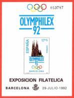 España. Spain. 1992. PO. Exposicion Filatelica OLYMPHILEX '92. Barcelona - Exposiciones Filatélicas