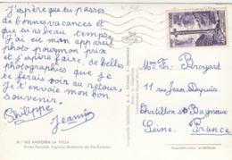 LETTRE. ANDORRE. CROIX GOTHIQUE 20F N° 148 SUR CP ANDORRA LA VELLA - Lettres & Documents