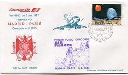 ENVELOPPE CONCORDE PREMIER VOL MADRID - PARIS DU 5 JUIN 1987 - Concorde