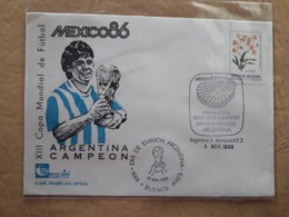 Football, Football Mondial Argentin 1986 Avec L'image De Maradona Et Cachet Spécial, Champion D'Argentine - Copa Mundial