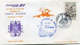 ENVELOPPE CONCORDE PREMIER VOL PARIS - MADRID DU 5 JUIN 1987 - Concorde
