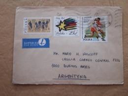 Football, Enveloppe De La Pologne Distribuée En Argentine Avec Timbre De Football Et Autres - Football