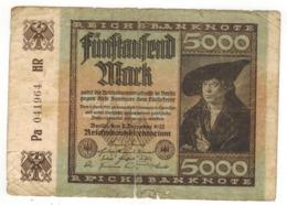 Germany 5000 Mk. 1922, Used. - 5000 Mark