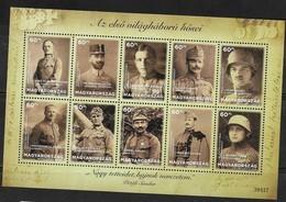 HUNGARY, 2018, MNH, WWI, HEROES OF WORLD WAR ONE, SHEETLET - WW1
