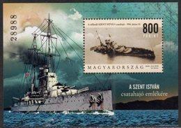 HUNGARY, 2018,MNH,  WWI, SHIPS, BATTLE SHIP SAINT STEPHAN, S/SHEET - WW1