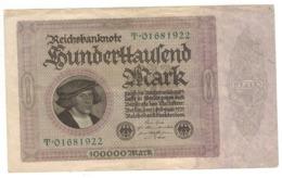 Germany 100000 Mk. 1923, VF. - [ 3] 1918-1933 : Weimar Republic