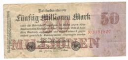 Germany 50 Million Mk. 1923, F/VF. - [ 3] 1918-1933 : Repubblica  Di Weimar