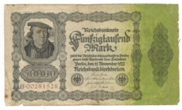 Germany 50000 Mk , 1922.  USED, SEE SCAN. - [ 3] 1918-1933 : Weimar Republic