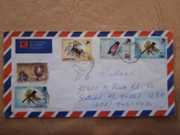 Enveloppe Du Lesotho Distribuée Avec Des Timbres D'oiseau Et De Papillon - Collections, Lots & Series