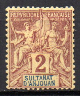 Col17  Colonie Anjouan N° 2 X MH Cote 3,50€ - Anjouan (1892-1912)