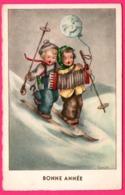 Illustrateur LORE. H. - Bonne Année - Skieur Enfant Accordéon - Ballon Lune - Edit. HUMMEL - Autres Illustrateurs