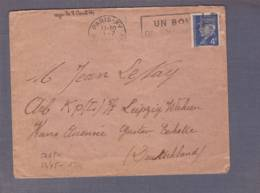 Lettre  STO Aff. 4f Pétain Obl. Paris XV 01.07.1944 -> Leipzig  - Censored/Zensur/Censure E + Contenu - WW II